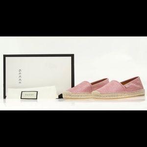 Pink Gucci logo espadrilles/ loafers.flats  🌸🌸